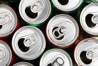 Empty used aluminium cans ready for recycling