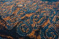 Aerial view of suburban neighborhood in the USA