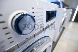 Closeup of a control panel of modern washing machine