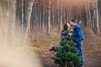 Cheerful couple carrying spruce tree in woods