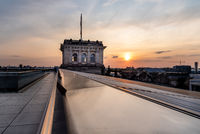 Cityscape of Berlin at sunset from the roof of the new Reichstag building