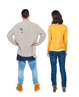 Back view couple in sweater.