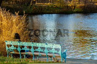 A woman sitting on an old bench at a lake