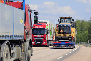 Freight Transport Trucks on Road