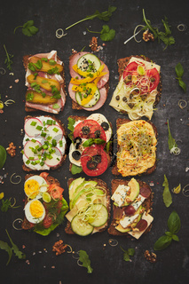 Top view of different decorated sandwiches as appetizer. Healthy food. Vegetable meal