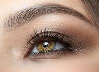 Closeup macro shot of blue human woman eye
