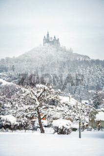 Castle Hohenzollern in Germany by snowy winter