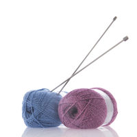 Blue and pink wool with needles
