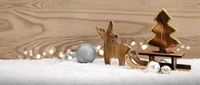 First Advent. Wood deer with Christmas tree on the sledge isolated .