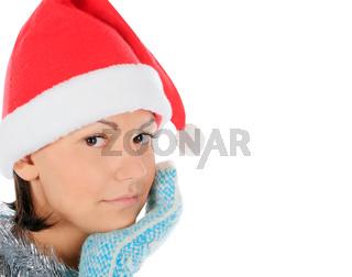 Yong female in santa hat over white