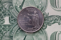 Symmetric composition of US dollar bills and a quarter of Hawaii