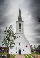 White church in Noordwijkerhout in the Netherlands