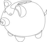 One line ceramic pig. Minimal style simple vector