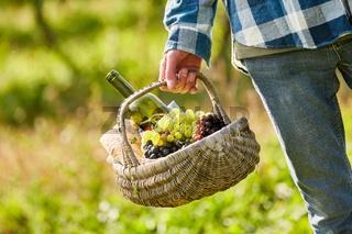 Mann trägt Korb mit Weintrauben und Wein zur Weinprobe