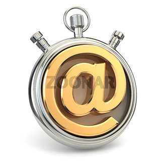 Stopwatch and symbol of e-mail. Online support.