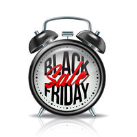 Black Friday inscription on realistic black alarm clock. Vector label template for advertising sales