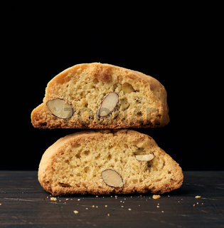 baked piece Italian almond biscotti, cantuccini cookies,