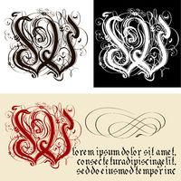 Decorative Gothic Letter W. Uncial Fraktur calligraphy.
