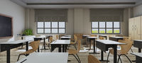 Modern classroom design with modern desk and seat side view 3D rendering