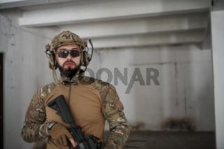 modern warfare soldier portrait in urban environment