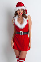 Woman in santa hat and dress
