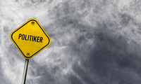 Yellow politiker sign with cloudy background