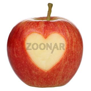 Apfel freigestellt mit Herz Thema Liebe