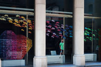 BARCELONA, SPAIN - JUNE 2, 2013: Contemporary gallery showcase with rainbow fish