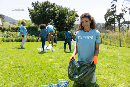 Volunteers collecting rubbish and recycling
