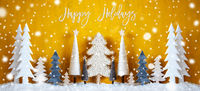 Banner, Christmas Trees, Snowflakes, Yellow Background, Happy Holidays