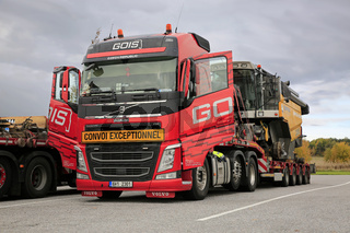 Red Volvo FH Truck Oversize Load Transport