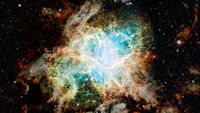 The Crab Nebula is a supernova remnant. Elements of this image furnished by NASA