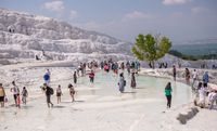 Mineral fields in the top of Pamukkale, Turkey