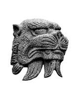 Japanese Mythological Animal Head Sculpture Isolated Photo