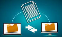 File sharing concept with data transfer between computers