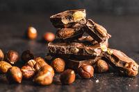 Dark nut chocolate and hazelnuts.