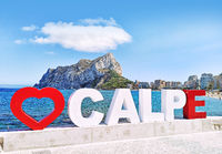 Calpe seafront promenade, Penyal d'Ifac Natural Park view. Spain