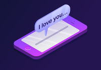 Mobile smartphone with message of I love you.