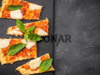 homemade cauliflower pizza crust with mozarella