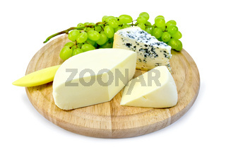 Cheese blue and suluguni on round board