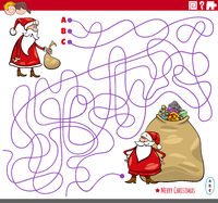 educational maze game with cartoon Santa Claus characters