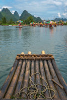 Close up of bamboo raft on a tropical river