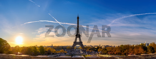 Paris France, panorama city skyline sunrise at Eiffel Tower and Trocadero Gardens