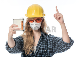 handwerker mit schutzmaske