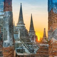 Buddhist temple Wat Phra Si Sanphet in Ayutthaya at sunset time