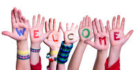 Children Hands Building Word Welcome, Isolated Background