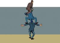 businessman climbs over the wall