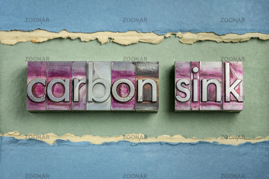 carbon sink word abstract in gritty  letterpress metal types