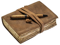 antique leatherbound journal isolated on white