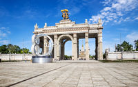 Arch of the Main entrance of VDNH in Moscow, Russia